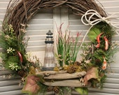 One of a kind Lighthouse and Lure Wreath, Lodge, Fishing, Cottage wreath