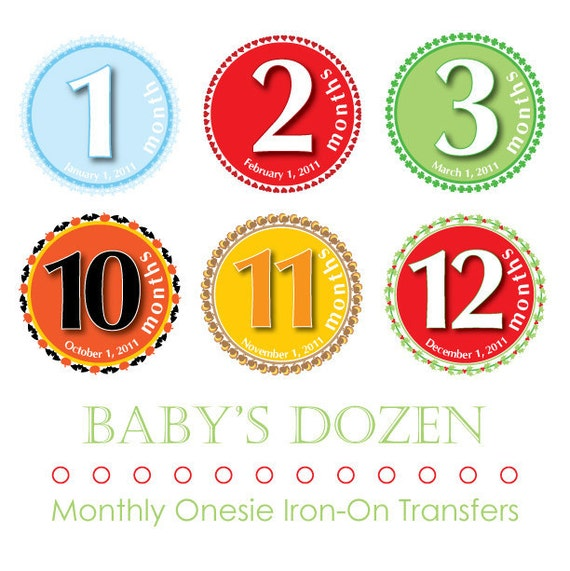 Monthly Iron On Transfers for Baby (Holiday)