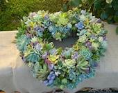 Succulent Wreath, Heart Shaped Succulent Wreath, Valentines Day Wreath, Valentines Day Gift, Wedding Table, Housewarming Gift