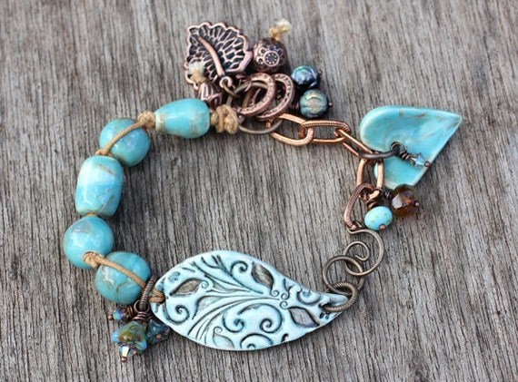 RESERVED FOR JANINE Turquoise ceramic beaded bracelet, copper, boho, hippie, gypsy