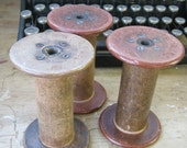 3 Antique Wooden Textile Mill Spools Pre 1938  J. H. & C.K. Eagle Silk Mill Free Shipping excluding Hawaii, Puerto Rico, and Alaska