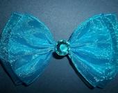 Ocean Blue Hair Bow Organza Hair Clip , bridal wedding special occasion women girls
