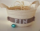 "CUSTOM for JESS - 2 Personalized Baskets - 9"" wide - Natural with GREY Band"