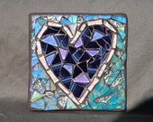 Heart Mosaic Art Block Purple and Turqoise