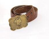 Vintage leather belt, horse saddle belt buckle