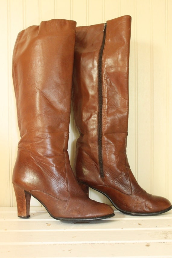 vintage light brown knee high leather boots free shipping