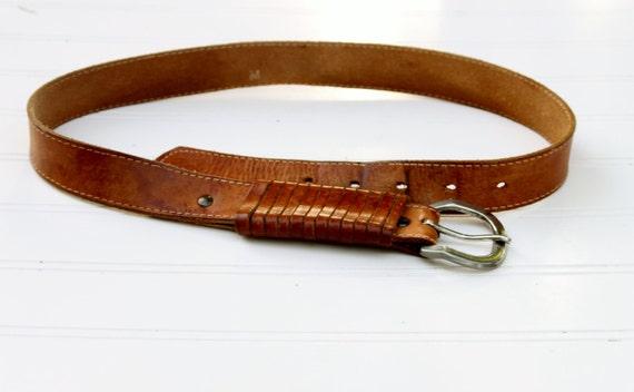 Vintage light brown, leather belt, unisex, women, men
