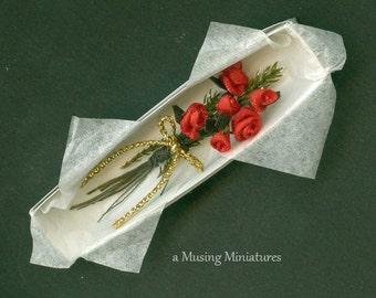 Longstem Red Valentine Roses in Florist Box in 1 Inch Scale for Dollhouse Miniature Roombox