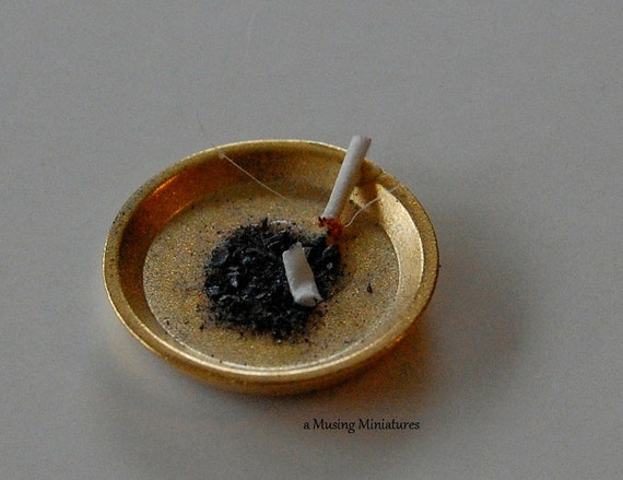 Brass Ashtray with realistic 'Lit' cigarette in 1:12 Scale for Dollhouse Miniature Pub or Study