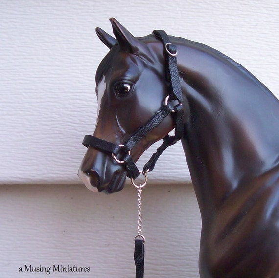 Black Leather Halter with Lead in 1 Inch Scale for Breyer Classic or Dollhouse Miniature Vignette