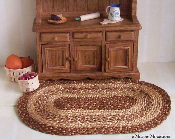 Knotless 4x6 Braided Rug in Toffee for Dollhouse Miniature Country Kitchen Roombox
