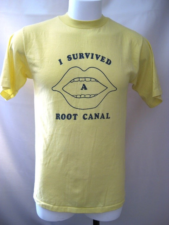 """Men's T-Shirt - """"I Survived A Root Canal"""" - Dentist/Orthodontist - 1980's"""