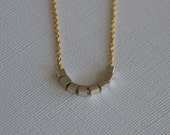 "Gold Chain Necklace w/ Sterling Silver Cube Beads (20"")"