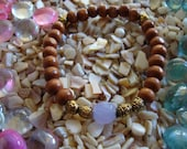 Easy  accessory bracelet with wood beads, lavender and gold accents