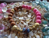 Midas' SugarBaby (Pink, gold, wood beaded bracelet with recycled hand painted glass bead)