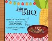Corn Grill / Customized Printable BBQ Invitation Cards DIY