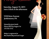 Customized Printable Red, Gold and Black Fashion Bridal Shower Invitations /  DIY