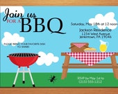 Summer Picnic / Customized Printable BBQ Invitation Cards DIY