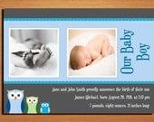 Customized Printable Baby Birth Announcement / Owl Family Boy / DIY