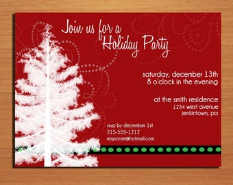 Snowy Tree and Burgundy Customized Printable Christmas Party Invitations / DIY