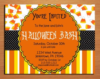Customized Printable Halloween Party Candy Corn Invitations /  DIY