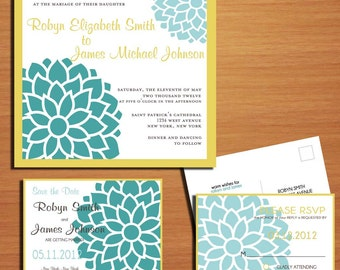 Blue Peonies Wedding Collection / Invitation / RSVP / Save the Date PRINTABLE / DIY