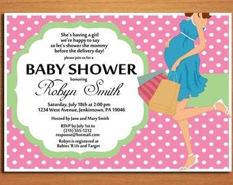 Polka Dot Mommy / Girl /  Baby Shower Invitation Cards / PRINTABLE / DIY