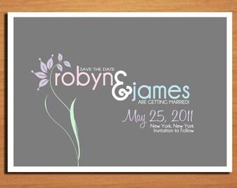Pastel Floral Modern Spring Wedding Save the Date PRINTABLE / DIY
