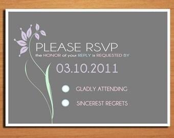 Pastel Floral Modern Spring Wedding RSVP Postcard PRINTABLE / DIY