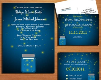 Twilight and Fireflies Wedding Collection / Invitation / RSVP / Save the Date Postcard PRINTABLE / DIY