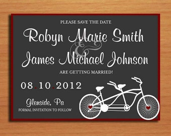 Bicycle Built For Two Modern Wedding Save the Date PRINTABLE / DIY