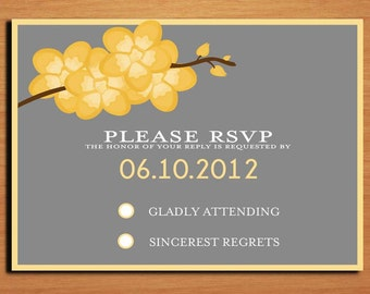 Orchid Branch Modern Wedding RSVP Postcard PRINTABLE / DIY