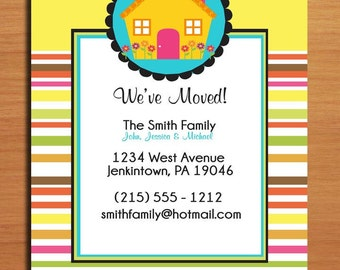Moving Announcement / Bright Stripes / Customized Printable DIY