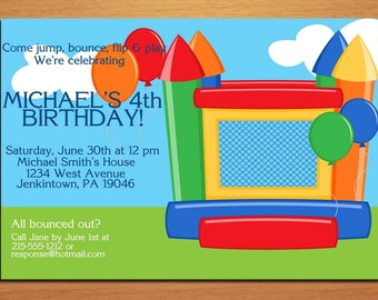Bounce House Customized Printable Birthday Party Invitation Cards DIY