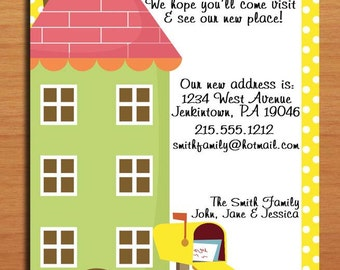 Moving Announcement / Polka Dot House / Customized Printable DIY