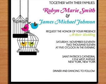 Vintage Birdcage Wedding Invitation PRINTABLE / DIY