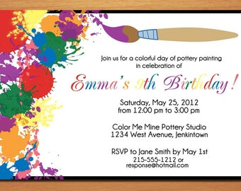 Painting / Artist Customized Printable Birthday Party Invitation Cards DIY