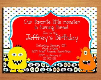 Little Monster / Party Invitation Cards PRINTABLE DIY
