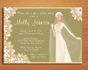 Vintage Peaches, Cream and Olive Bridal Shower Customized Printable Invitations /  DIY