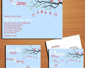 Love Birds Wedding Collection / Invitation / RSVP / Save the Date Postcard PRINTABLE / DIY