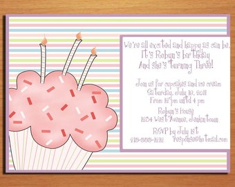 Striped Cupcake / Sweet Celebration Birthday Party Invitation Cards PRINTABLE DIY