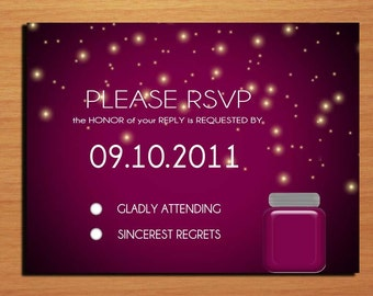 Purple Dusk and Fireflies Wedding RSVP Postcard PRINTABLE / DIY