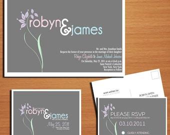 Pastel Floral Modern Spring Wedding Collection / Invitation / RSVP / Save the Date Postcard PRINTABLE / DIY
