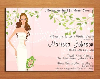 Romantic Blush Bridal Shower Customized Printable Invitations /  DIY
