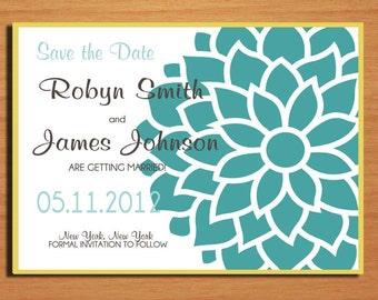 Blue Peonies Wedding Save the Date PRINTABLE / DIY