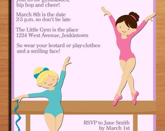 Gymnastics / Balance Beam Customized Printable Birthday Party Invitation Cards DIY