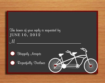 Bicycle Built For Two Modern Wedding RSVP Postcard PRINTABLE / DIY
