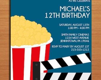 Movie Party Customized Printable Birthday Party Invitation Cards DIY