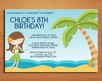 Luau Beach Party / Birthday Party Invitation Cards PRINTABLE DIY