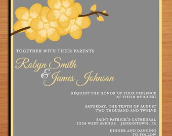 Orchid Branch Modern Wedding Invitation PRINTABLE / DIY